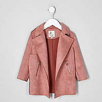 Mini girls coral pink faux suede trench coat