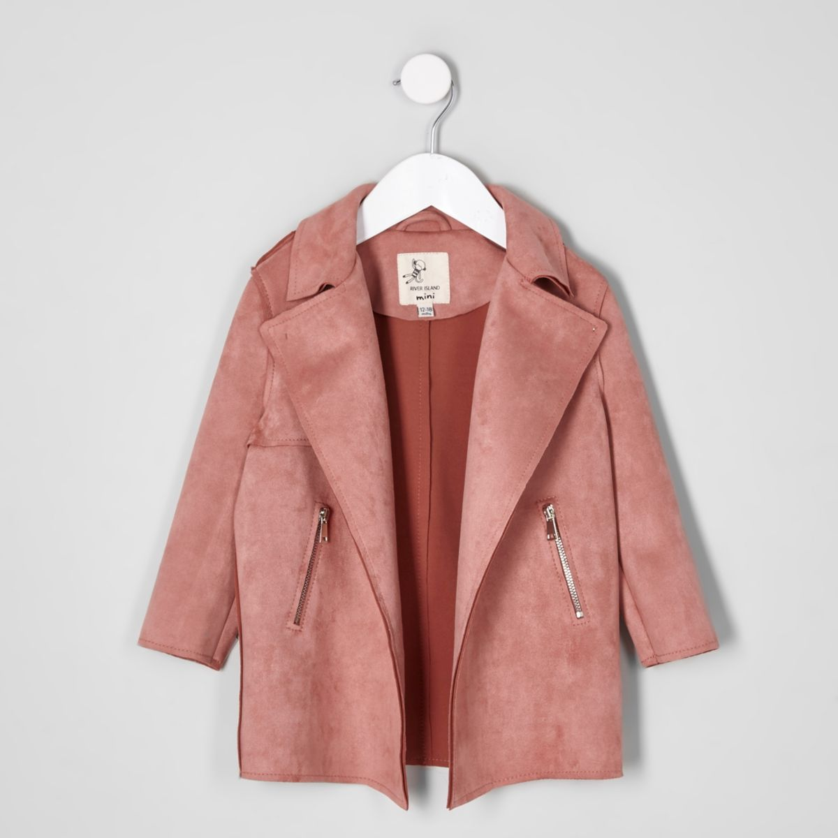 Trench en suédine rose corail mini fille