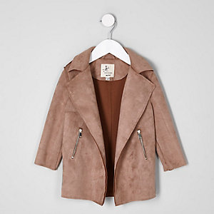 Mini girls tan faux suede trench coat