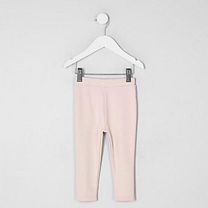 Legging en maille point de Rome rose clair mini fille
