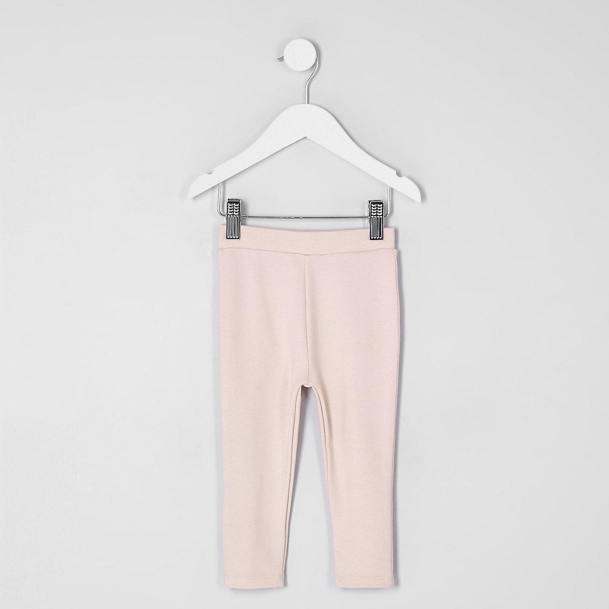 Mini girls light pink ponte leggings