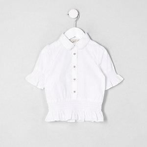 Mini girls white shirred frill shirt