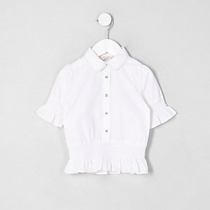 Mini girls white shirred frill shirt