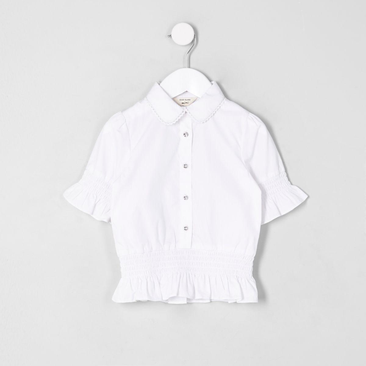 Chemise blanche à volants pour mini fille