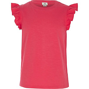 Girls pink frill sleeve tank top