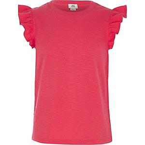 Girls pink frill sleeve tank top