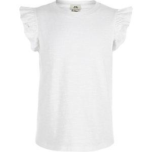 Girls white frill sleeve tank top