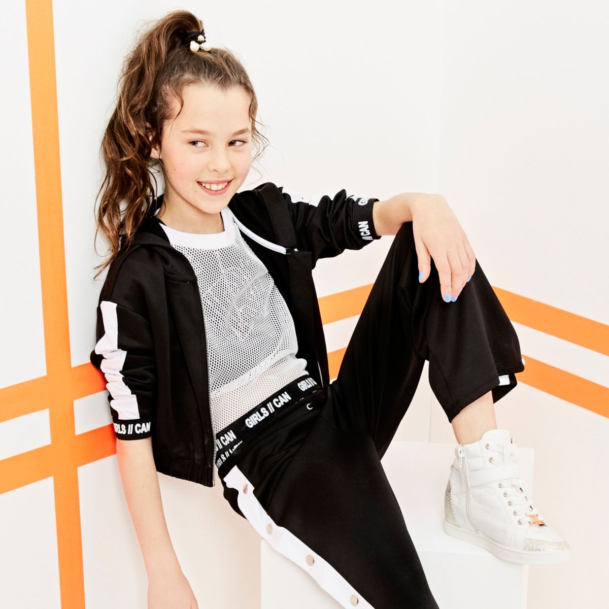 Girls RI Active white mesh cropped T-shirt