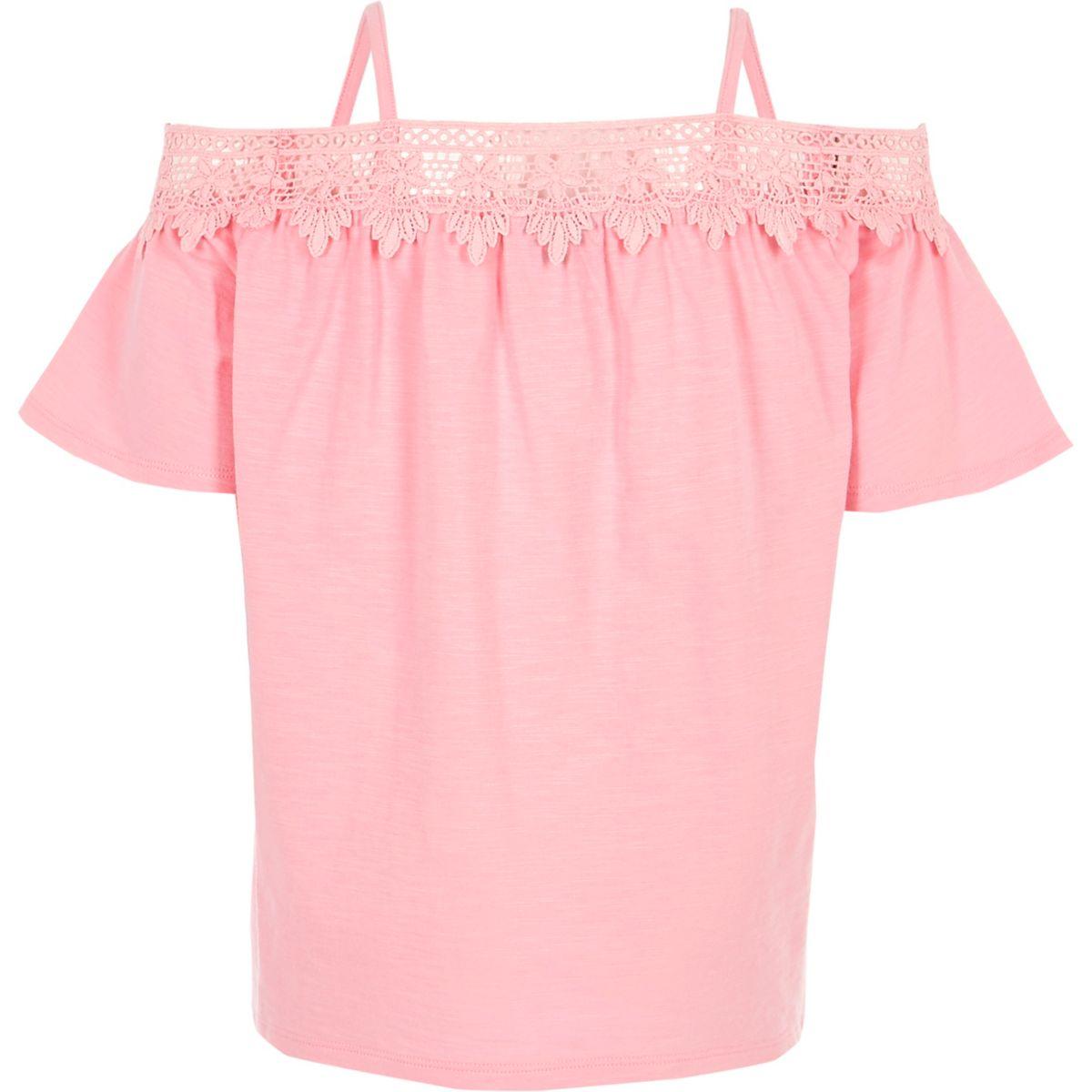 Top Bardot rose avec dentelle au crochet pour fille