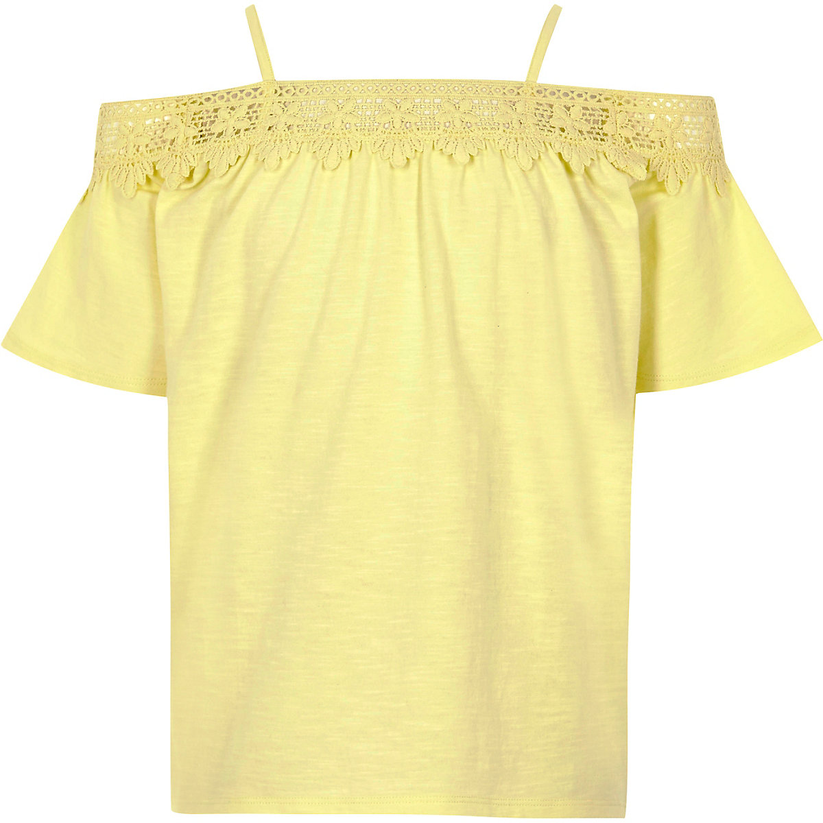 Girls yellow crochet lace bardot top