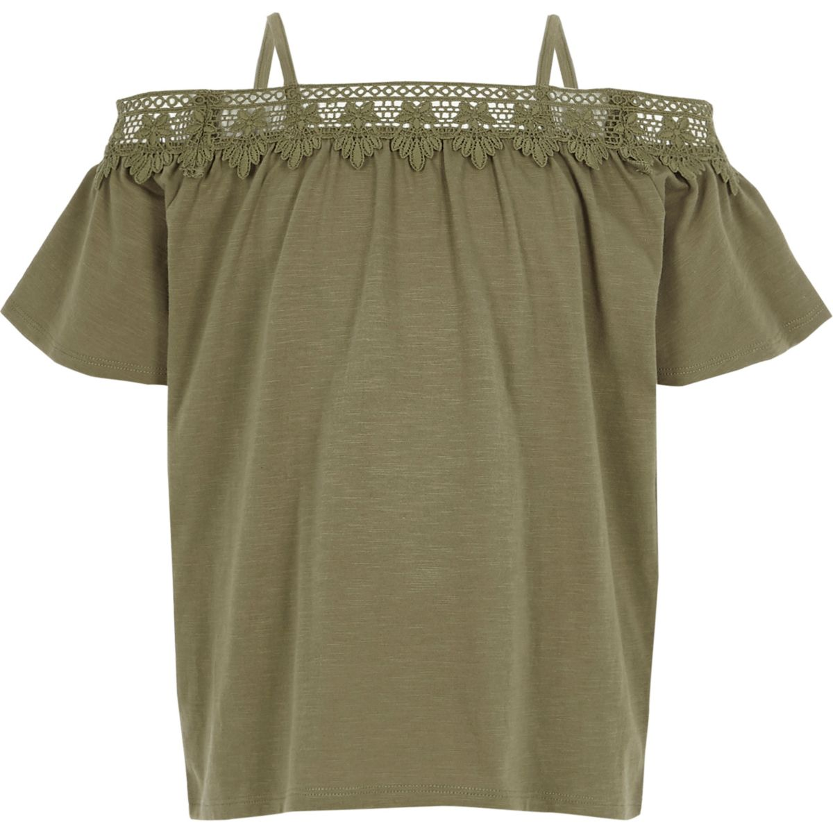 Girls khaki crochet lace bardot top