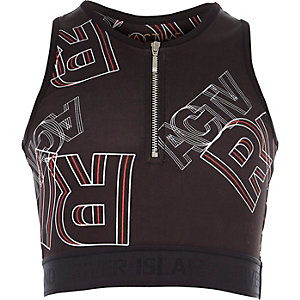 Girls black RI Active zip-up crop top