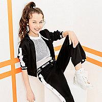 Girls RI Active black stripe cropped hoodie