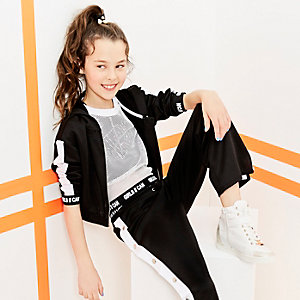 Girls RI Active black stripe cropped hoodie
