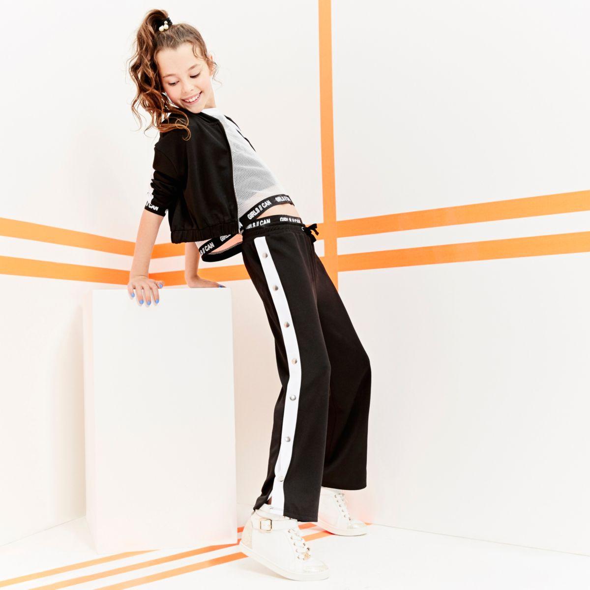 Girls RI Active black popper side pants