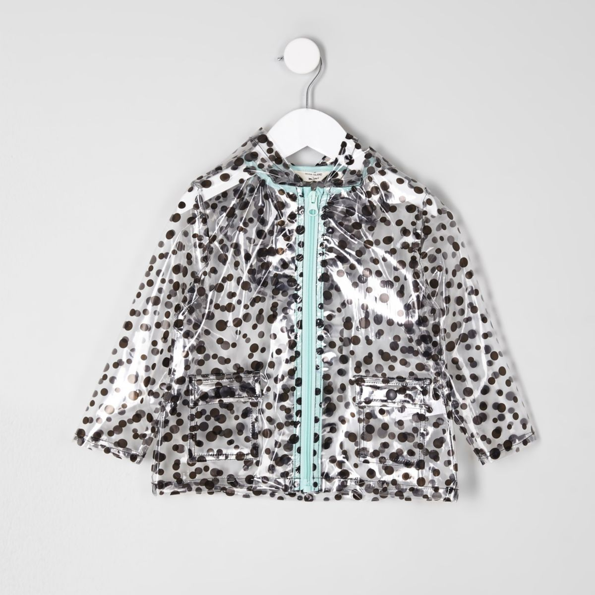 Mini girls black polka dot clear raincoat
