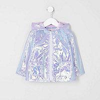 Mini girls purple iridescent rain coat