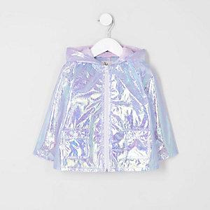 Mini - Paarse reflecterende regenjas voor meisjes