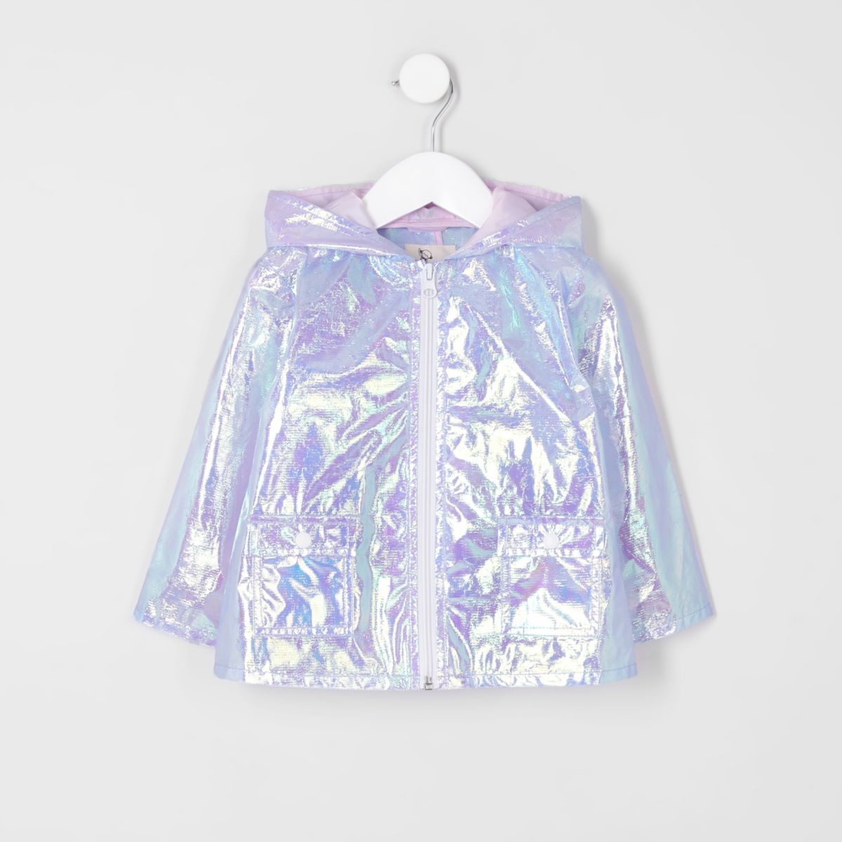 Mini girls purple iridescent rain coat