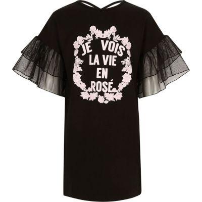 River Island Zwarte T-shirtjurk met 'Je vois la vie'-print voor meisjes