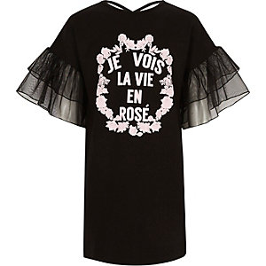 Girls black 'je vois la vie' T-shirt dress
