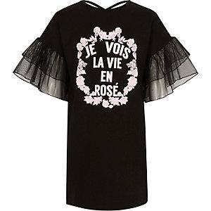 Zwarte T-shirtjurk met 'Je vois la vie'-print voor meisjes