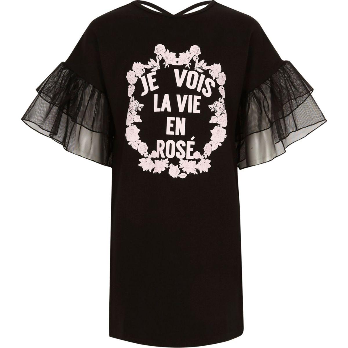"""Schwarzes T-Shirt-Kleid """"je void la vie"""""""