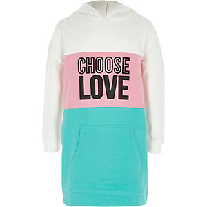 Girls green colour block 'love' hoodie dress