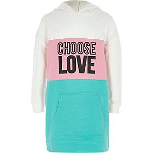 Groene hoodie-jurk met kleurvlakken en 'love'-print voor meisjes
