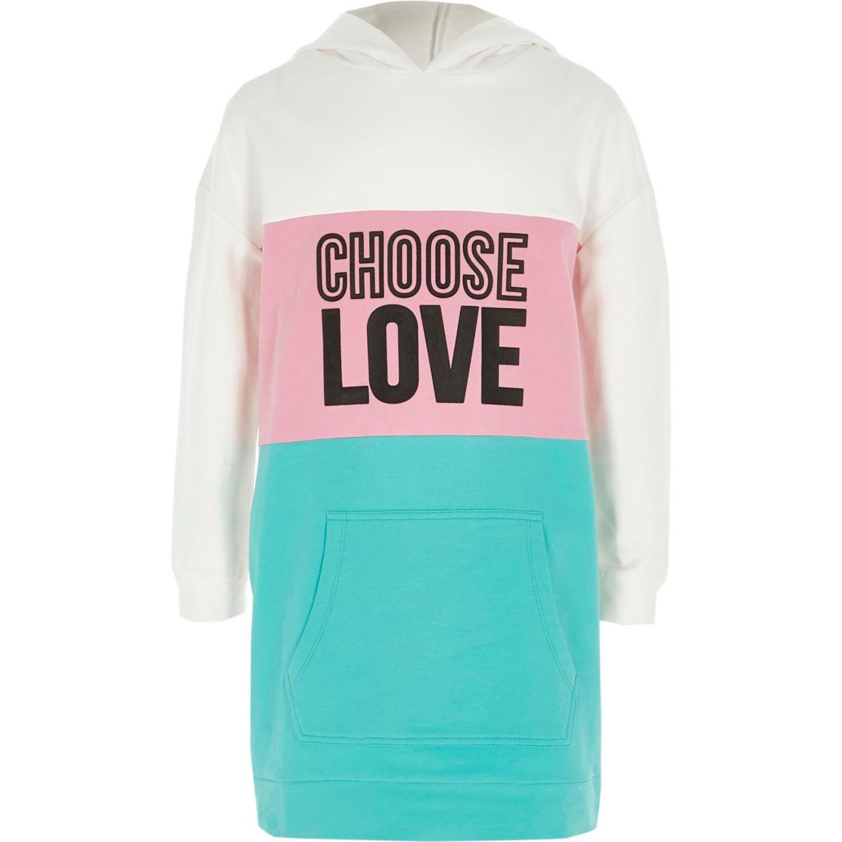 Girls green colour block 'love' hoodie dress