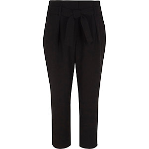 Girls black tie waist tapered pants