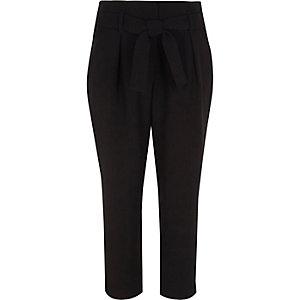 Pantalon noir fuselé avec lien à la taille pour fille