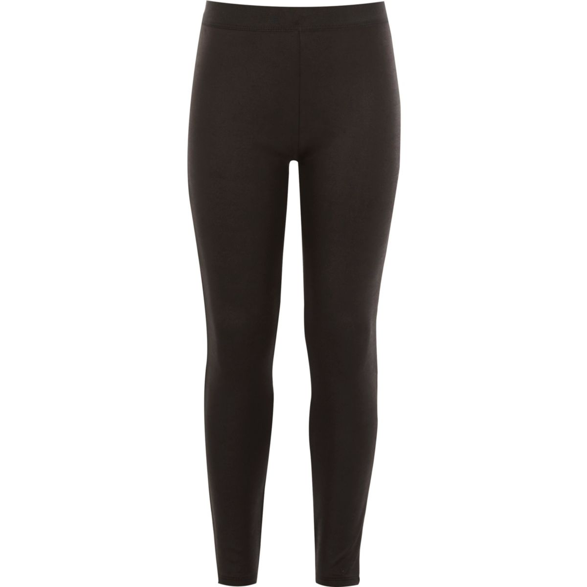 Girls black wet look leggings