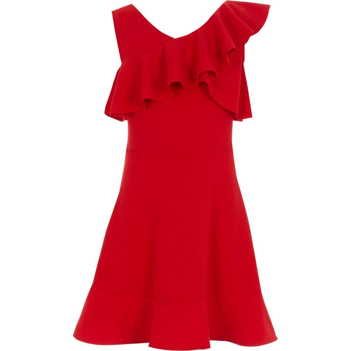 Girls red one shoulder frill skater dress