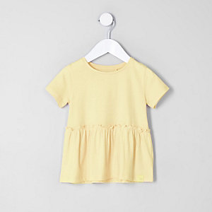 Mini girls yellow peplum hem T-shirt