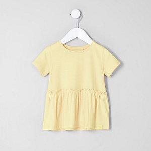 Mini - Geel T-shirt met peplumzoom voor meisjes