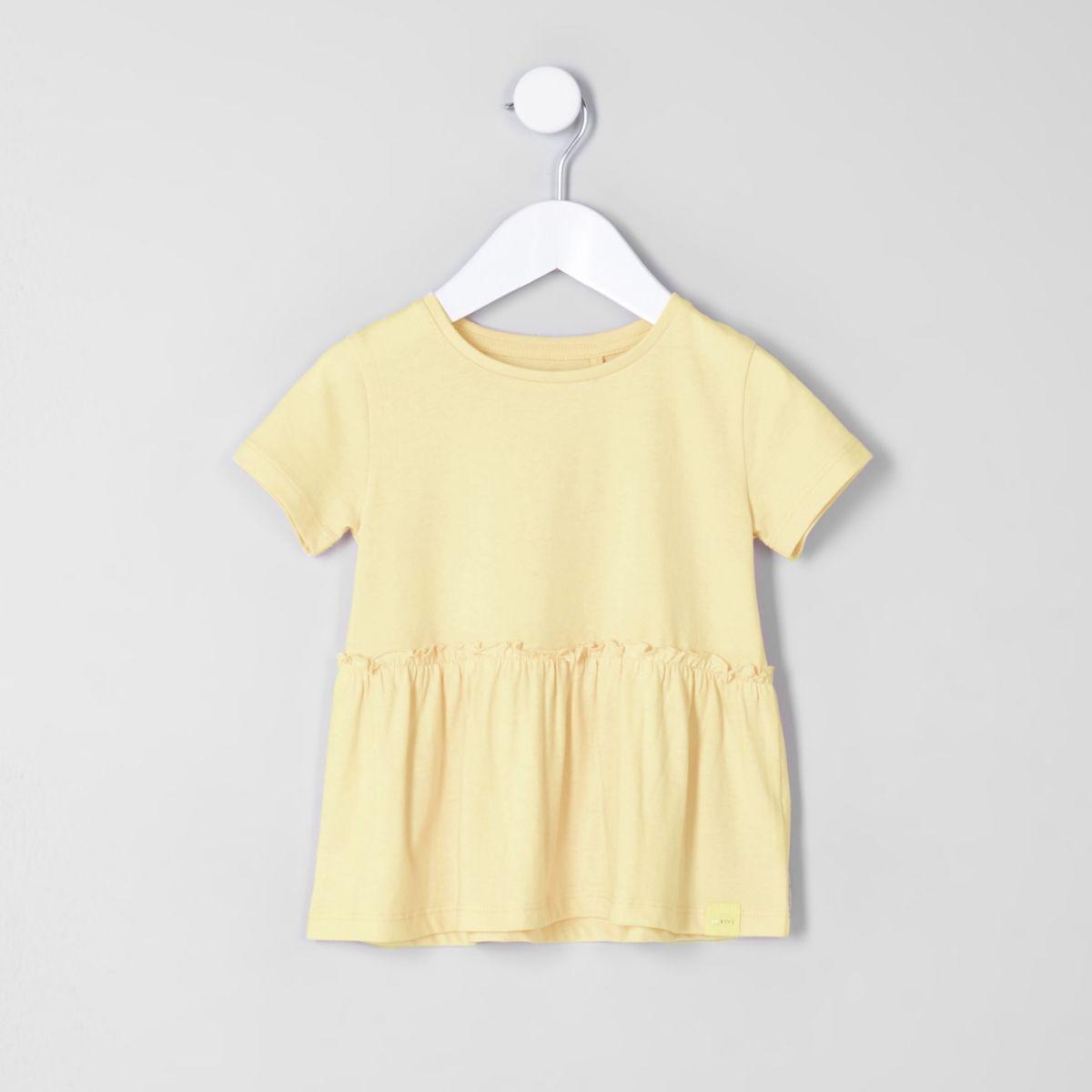 Mini girls yellow peplum hem T-shirt