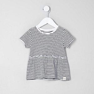 Weißes, gestreiftes T-Shirt mit Schößchen