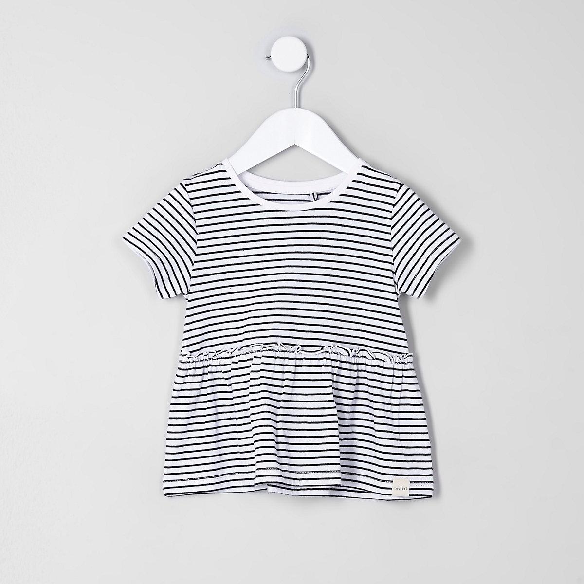 Mini girls white stripe print peplum T-shirt