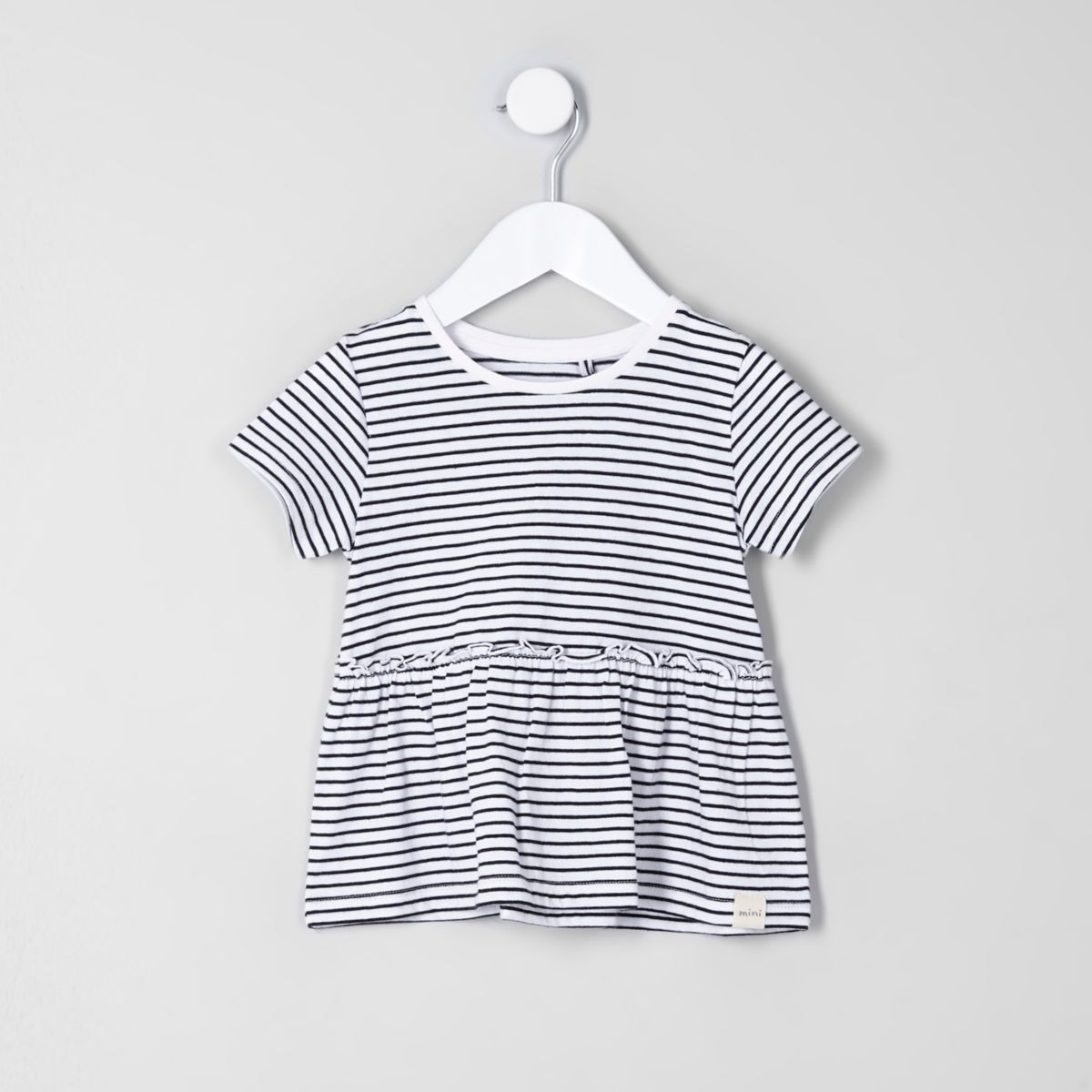 Mini girls white stripe print peplum T-shirt
