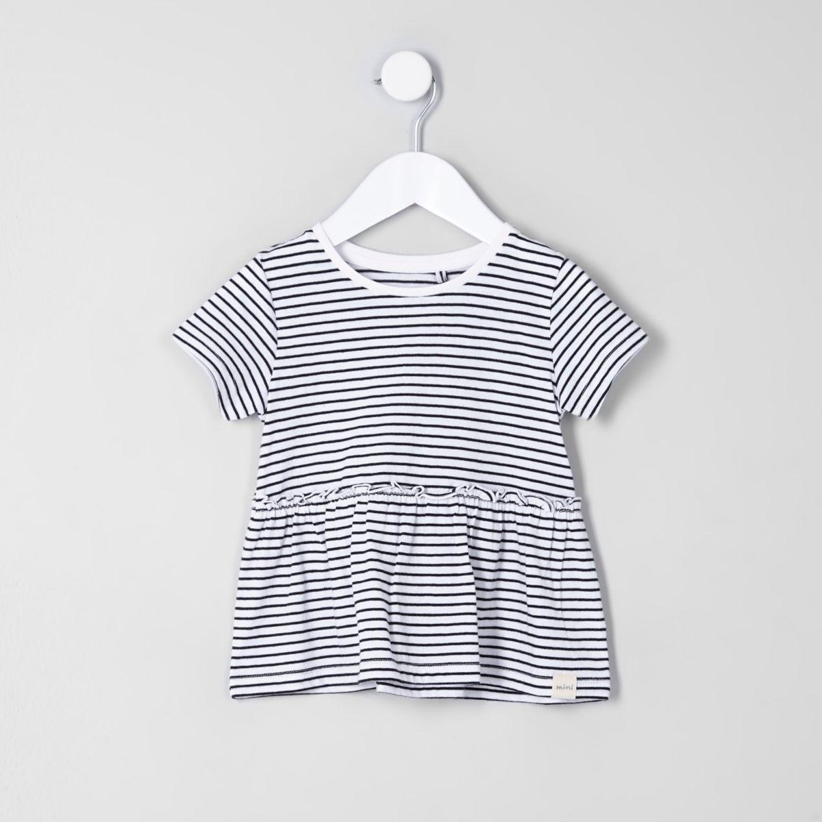 T-shirt péplum à rayures blanc mini fille