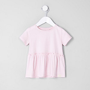 T-shirt rose à ourlet péplum mini fille