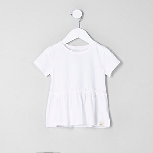 Weißes T-Shirt mit Schößchen