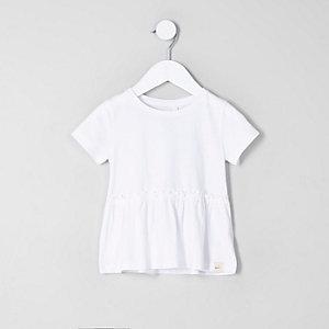 Mini - Wit T-shirt met peplum voor meisjes