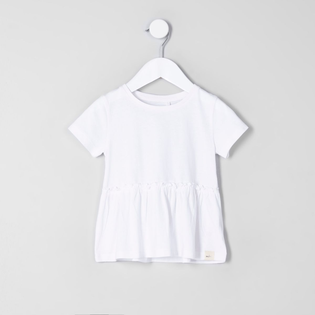 Mini girls white peplum hem T-shirt