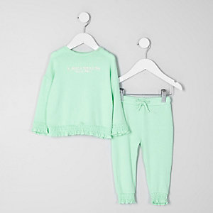 Mini girls mint green 'amazing' sweater outfit