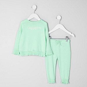 Mini - Mintgroene outfit met pullover met 'amazing'-print voor meisjes