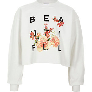 Sweat court « beautiful » blanc pour fille