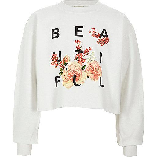 Girls white 'beautiful' cropped sweatshirt
