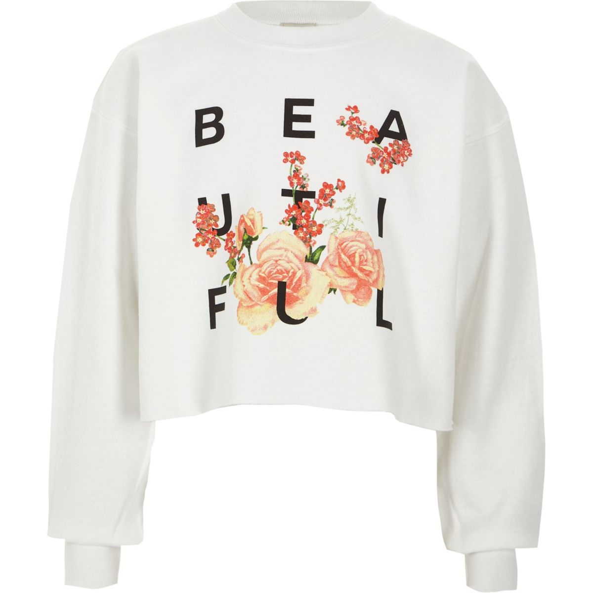 Girls white 'beautiful' cropped sweatshirt